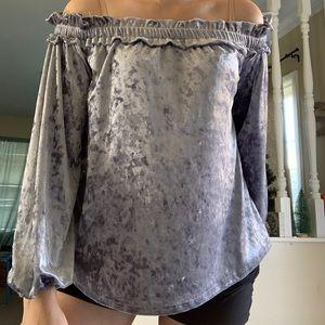 Velvet Off the Shoulder Shirt NWT